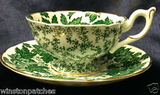 COALPORT ENGLAND 4891 FOOTED CUP & SAUCER 8 OZ GREEN LEAVES ON WHITE GOLD TRIM