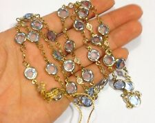 "30"" Gold Vermeil Genuine Austrian Crystal Pale Blue and White Necklace"