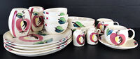 Vintage Purinton Slip Ware Pottery Hand Painted Apple Lot 17 Pieces Plates Bowls