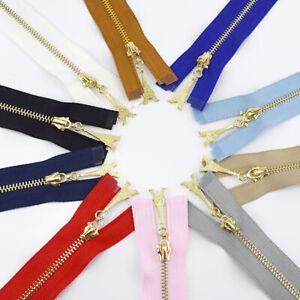 1Pc 20/30/40/50/60/70CM Gold Teeth Metal Zipper Sewing Zip Garment Accessories