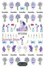 3D Nail Art Sticker Lavender Butterfly Flower Decals Manicure DIY Peel & Stick!