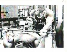 Arnold Schwarzenegger /Dave Draper Golds Gym Workout Bodybuilding Photo B&W #1