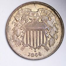 1864 ROTATED REV 180 Two Cent Piece CHOICE BU FREE SHIPPING E256 RFT