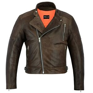Motero Vintage Brown  High Quality Motorcycle Motorbike Cow Plain Leather Jacket