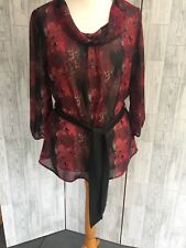 Epilogue Red & Black Semi Sheer Cowl Neck Blouse With Tie Belt Sz16