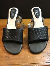 Womens Size 9.5 Nickels BLACK BASKETWEAVE WOVEN LEATHER SLIP ON CASUAL SANDALS