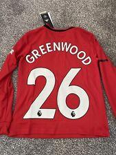 Greenwood long Sleeve Adidas Manchester United Shirt Kids 9-10years BNWT