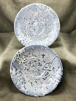 Two Scilla Lillian Delevoryas Saucers ICTC Burleigh Staffordshire Blue Floral