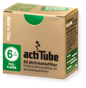 500 actiTube ExtraSlim 6mmØ Aktivkohlefilter für Pfeifen NEU 10x50 - 1 Display