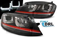 Coppia di Fari Anteriori LED DRL Inside VW GOLF 7 Neri con Rosso Linea GTI Look