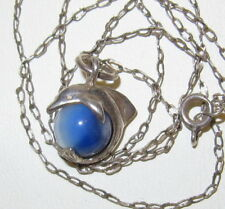 Vintage 925 Sterling Silver Dolphin Moonstone Glass Pendant Necklace, SIGNED