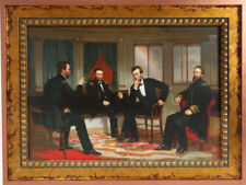 George Healy Peacemakers Sherman & Grant & Abe Lincoln Framed Canvas Transfer