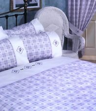 DOUBLE BED DAISY CHECK LILAC DUVET COVER SET TARTAN SQUARES DIAMOND PURPLE LINES