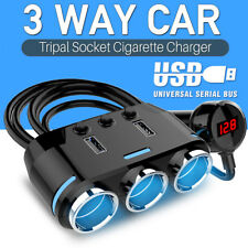 3 Way12V 24V  Car Cigarette Lighter Adapter  Double Plug Socket Charger Splitter
