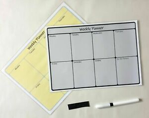 A4 Laminated Wipe Clean Reusable Weekly Planner Appointments To Do Magnets Pen L