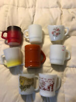 FIRE KING GLASS CUPS MUGS LOT MILK GLASS BLESS THIS FOOD HORSE & BUGGY BARREL