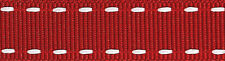 Berisfords Stitched Grosgrain Ribbon 15mm Red/White - sold by the metre