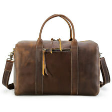 Vintage Men's Leather Overnight Luggage Suitcases Duffle Gym Travel Shoulder Bag