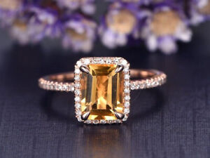 2ct Emerald Cut Yellow Citrine Engagement Ring Halo Solitaire 14k Rose Gold Over