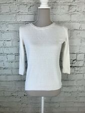DOROTHY PERKINS - White 1/2 Sleeve Cable Knit Casual Jumper - Womens - Size 8