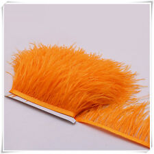 Orange Ostrich Feather Trims Fringes Sewn on Feather 1 Yard