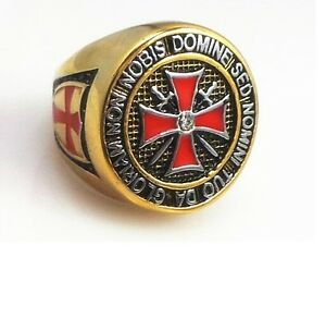 Knight Templar Ring - Masonic College Style GOLD Color Stainless Steel Ring