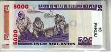 Lot de 10 billets de Banque neufs du Pérou tous différents - Banknotes