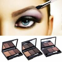 3 Color Eyebrow Powder Palette Brush Cosmetic Brow Eye Makeup Kit Mirror Shading