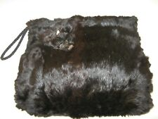 Antique Vtg Edwardian Victorian real Black Mink fur muff w/ Genuine Braided hair