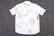 SOULLAND SPRAY PATTERN WHITE SMALL SHORT SLEEVE BUTTON FRONT SHIRT MENS NWT NEW