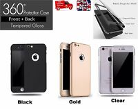 360° Full Body Protective Case Cover + Tempered Glass for iPhone 5/SE/6/6+/7/7+