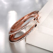 Rose Gold Plated Clear Hoop Earring made with Swarovski Crystals