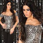 SEXY top LEOPARD NERO/ARGENTO lucido taglia unica (38-40-42) maglia GLAMOUR !