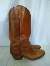 FRYE Mens 8.5D Western Boots Caramel Brown Leather Cowboy Style # 2355