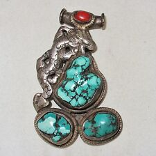 """3.6"""" Antique ? Chinese or Mongolian Silver Dragon Pendant with Turquoise & Coral"""