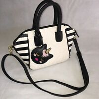 Luv Betsey Johnson Quilted Satchel Crossbody Bag Purse Unicorn Charm White Black
