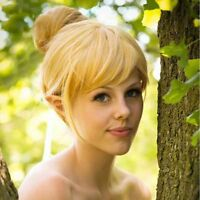 Fairy Tinker Bell Cosplay Wig Gold Blonde Short Synthetic Hair Fancy Dress Prop