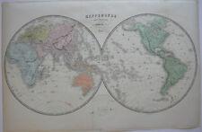Mappemonde Weltkarte zwei Hemisphären Orig Farblithogrfie Vuillemin 1860