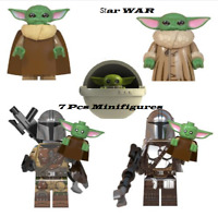 7 Pcs Minifigures Star War Baby Yoda Mandalorian Boba Fett Characters Lego MOC