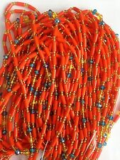 "Sexy African Single Waist Beads, Orange, 38""inches long New FREE P&P"