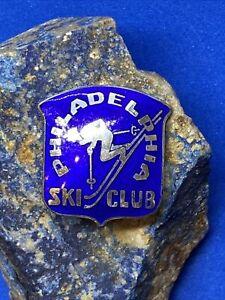 Vintage Philadelphia Ski Club Sterling Silver & Cobalt Blue Enamel Pin