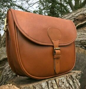 HAND MADE BROWN LEATHER SHOOTING CARTRIDGE BAG SATCHEL STORES 70+ CARTRIDGES