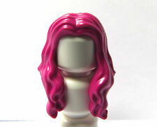 Lego 1 Hair Wig For Female Girl Minifigure Long Magenta Pink Over Shoulder