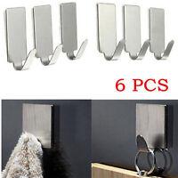 6PCS Self Adhesive Home Kitchen Wall Door Stainless Steel Holder Hook Hanger UK