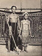 1940 Vintage BORNEO WEDDING Iban Man & Woman Costume Fashion Jewelry ~ K.F. WONG