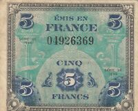 Vintage Collectible 1944 5 Francs France Military Allied Currency