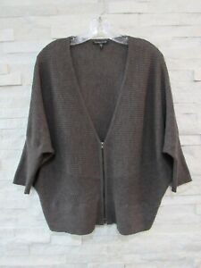 Eileen Fisher Cobblestone Knitted Wool Rib Zip Front Dolman Sleeve Cardigan 1X