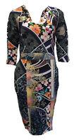 Womens Ladies New FULL Oriental Multi Floral Midi Bodycon Stretch Dress UK 8-12