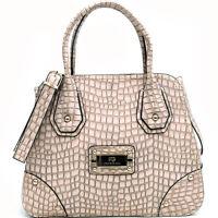 Anais Gvani Women Handbag Croco Soft Leather Satchel Tote Bag Purse Cream