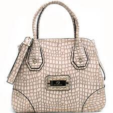 New Anais Gvani Women Handbag Croco Faux Leather Satchel Tote Bag Purse Cream